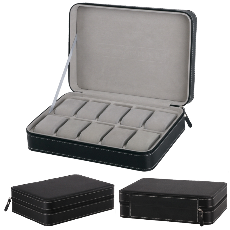 2018 Nuovo 12 Griglie Della Cassa per orologi Box Involucro di imballaggio Dei Monili di caso per Ore Guaina per Ore Box per ore Orologio display