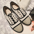 Dropshipping 2016 Spring Autumn Flat Shoes Lace Up Girl's Fisher Shoes Hemp Clothing Lady Shoes Round Toe Casual Shoes C053