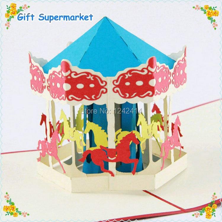 new design happy birthday merry go round greeting cards handmade carousel 3d pop up invitation. Black Bedroom Furniture Sets. Home Design Ideas