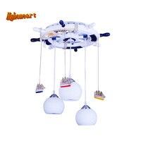 Mediterranean Style Kids 3 Head Glass Ball Light Pendant Lights E27 110V/220V Cartoon Led Pendant Lamp for Dining Room Modern