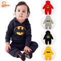2016 New Hot Batman Autumn Winter Baby Boy Romper Hooded Infant Baby Girl Jumpsuit Newborn Baby Clothes Rompers 4 Colors