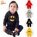 2016 Nuevo Batman Caliente Otoño Invierno Del Bebé Del Mameluco Con Capucha Infant Baby Girl Mono Recién Nacido Del Bebé de Los Mamelucos 4 Colores