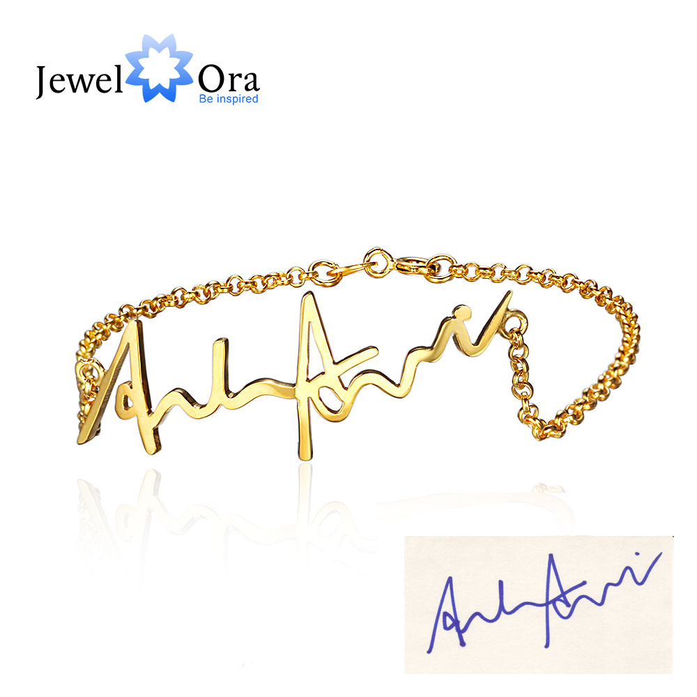 Personnalisé 925 Sterling Argent Manuscrite Bracelets Pour Femmes Infinity Trendy Bracelets & Bangles (JewelOra BA101513)