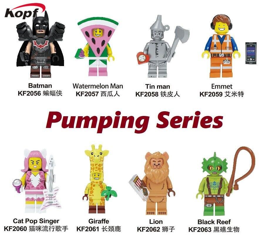 Building Blocks Pumpng Series Batman Tin Man Watermelon Man Emmet  Cat Pop Singer Kitty Giraffe Figures Toys For Children KF8042