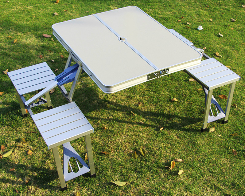 Outdoor portable folding integrated tables chairs aluminum combination picnic barbecue desk chair set outdoor table furniture
