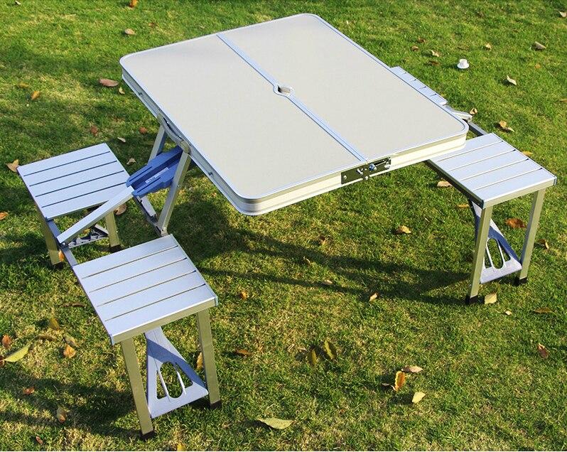 Extérieur portable pliant intégré tables chaises en aluminium combinaison pique-nique barbecue bureau chaise ensemble extérieur table meubles