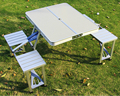 Outdoor portable folding tables and chairs combination of aluminum picnic tables and chairs Set