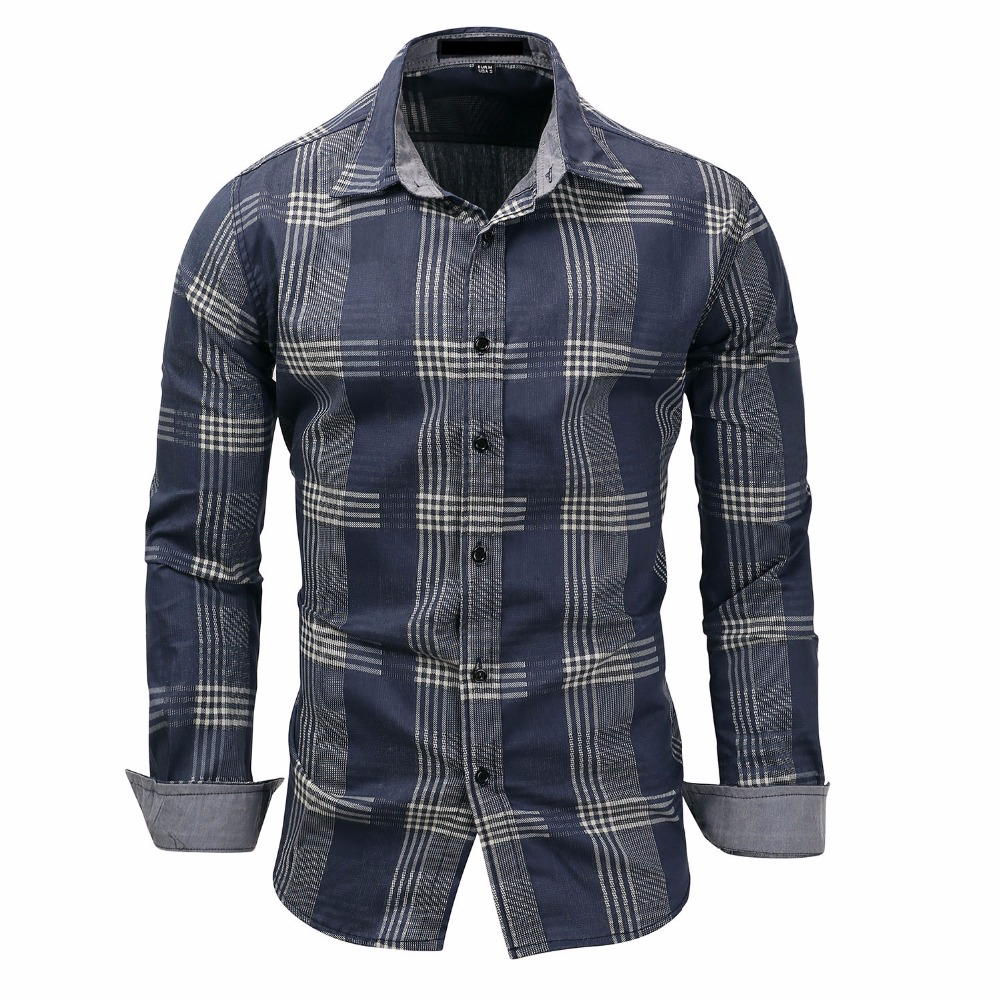 High Quality 2018 Military Plaid Summer Men Shirts Casual Slim Fit Mens Track Suit Plus Size Shirt Blouse Top Outwear