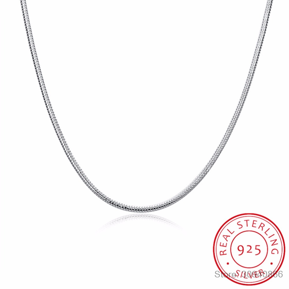 Wholesale 925 Silver Snake Chain Women Men Fashion Necklace 16-24inch Jewelry