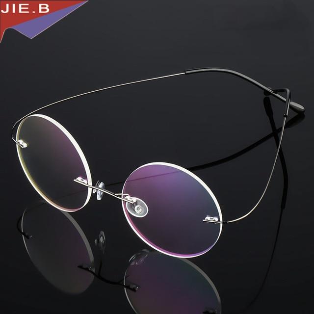 Rodada limpar vidros ópticos quadro titanium da liga sem aro ultra-leve  óculos de armação 70f211c85a