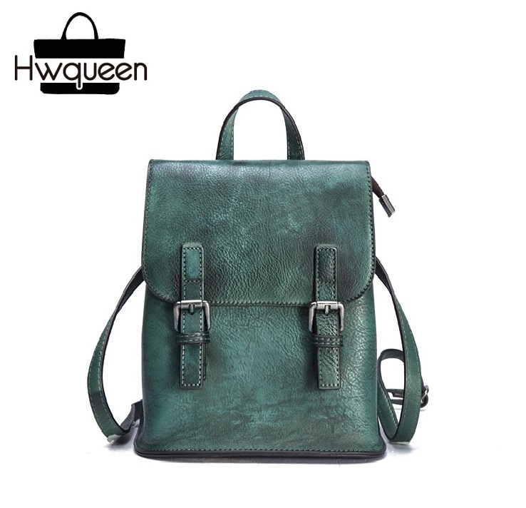 Vintage Casual Designer Genuine Cow Leather Hand Painted Girls Female Travel Backpack Blackish Green Women s