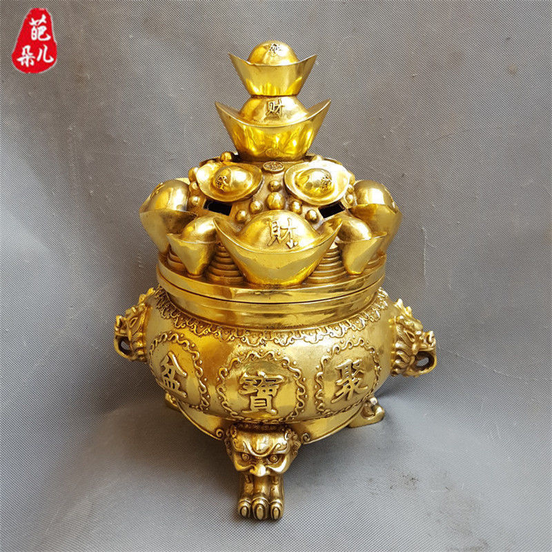 Chinese Brass Wealth Dragon Coin Treasure Bowl Statue Incense Burner CenserChinese Brass Wealth Dragon Coin Treasure Bowl Statue Incense Burner Censer