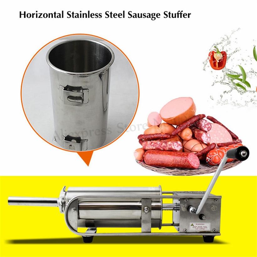 Horizontal Manual 7L Sausage Stuffer Stainless Steel Spanish Churros Maker Salami Meat Filling Machine Sausage Syringe Tool