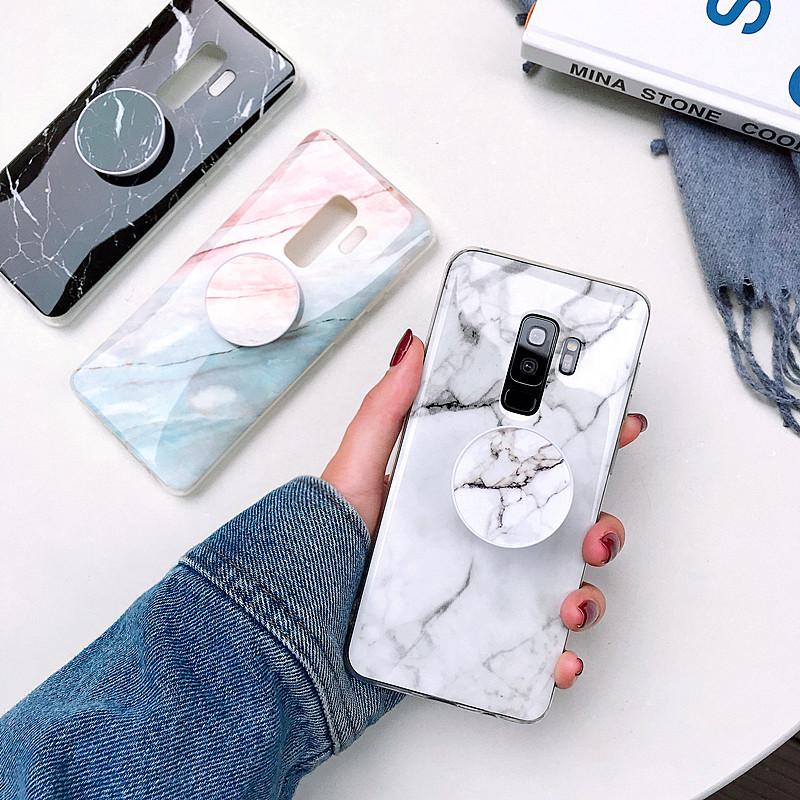S8 S9 Plus Marble Case For Samsung galaxy S7 Edge S8 S9 Scrub Soft TPU case Note 8 Note 9 Protective Cover shell Phone Holder(China)