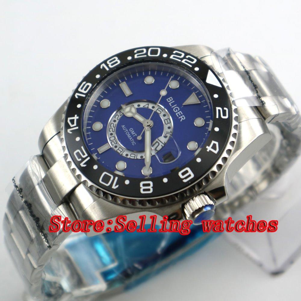 43mm Bliger Stainless Steel Case blue Dial black Ceramic Bezel Luminous Mechanical Mens Wristwatch