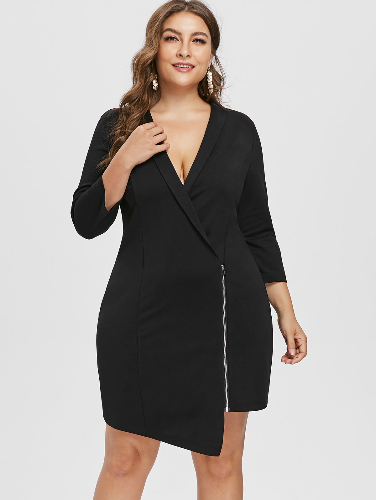Wipalo Sexy Plus Size 5XL Zip Up Plunging Neck Dress Three Quarter Sleeve  Asymmetrical Surplice Dress Women Autumn Party Dress-in Dresses from  Women s ... 5c52ed03f