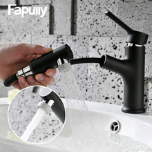 Fapully Black Chrome Basin Faucet Bathroom Pull Out Tap Shower Spray Hot Cold Water Bathroom Faucet Single Handle Mixer Tap 1061 single handle shower faucet mixer water tap bathroom shower basin faucet shower hand copper shower basin faucet hot and cold