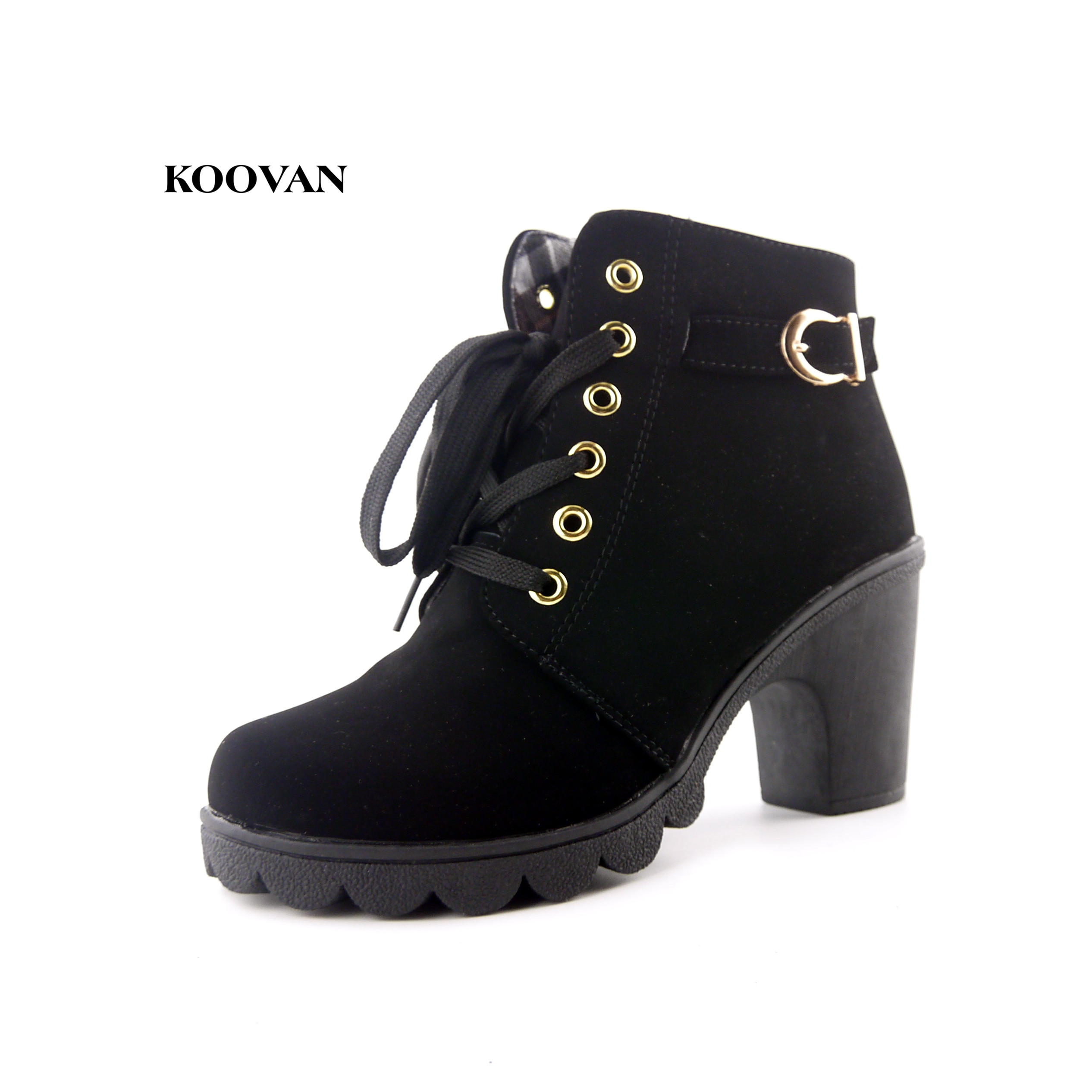 Koovan Women Boots Autumn Winter 2017 New High-heeled 8.5cm Womens Shoe Cross Straps Shoes With Martin Boots Suede Spot ...