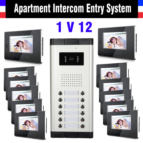 Apartment Intercom System 7 Inch Monitor 12 Units Apartment Video Door Phone Intercom System Video Doorbell Doorphones Kit apartment intercom system 7 inch monitor 6 units apartment video door phone intercom system video intercom doorbell kit