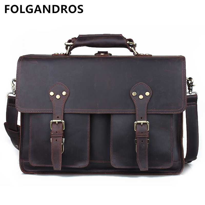 FOLGANDROS Men's Briefcases Handmade Genuine Cow Leather Vintage Business Laptop Computer Bag Famous Brand Designer Briefcases