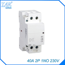 AC 220 / 240V Coil 40A 1NO 2 Pole 2P Household AC Contactor Modular 35mm DIN Rail Mount 40Amp