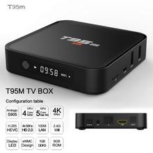 2020 폭발 T95M 안드로이드 구글 인터넷 Tv 박스 S905X 쿼드 코어 64 비트 2 기가 바이트 8 기가 바이트 2.4GHz 와이파이 지원 4K HD USB 미디어 플레이어