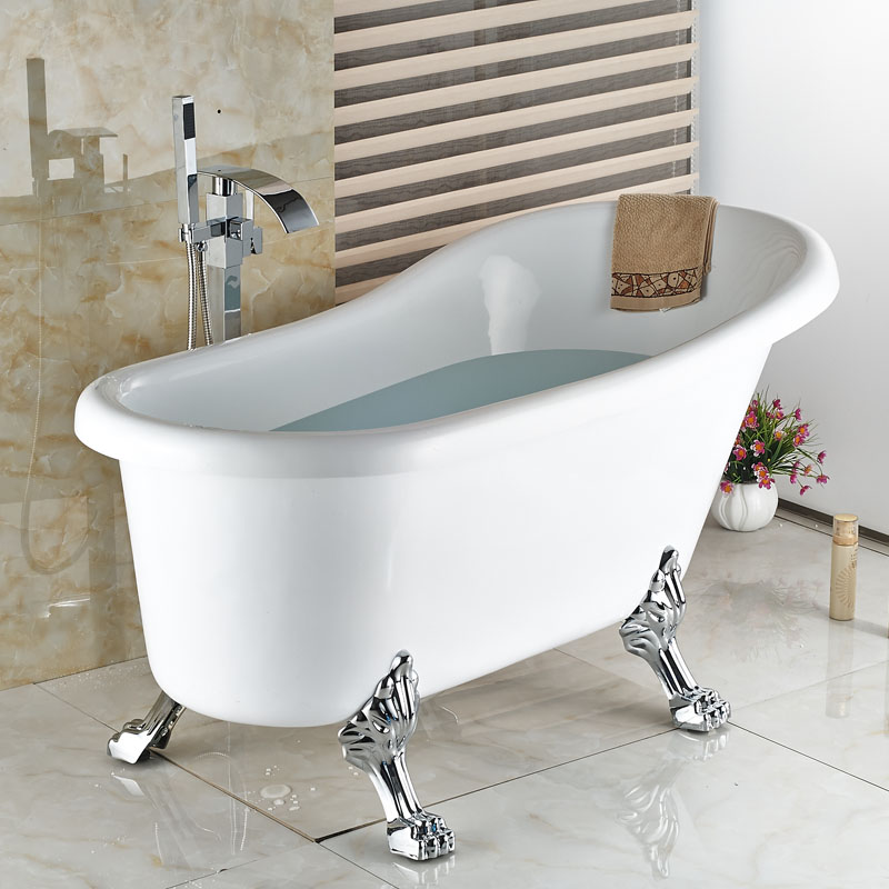 Floor Mounted Bath & Shower Faucets Waterfall Spout Hot And Cold ...