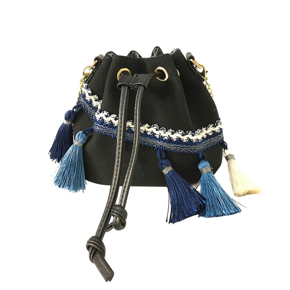 Chains Shoulder Handbags Korean Version Canvas Drawstring Bucket Bag Women's Vintage Messenger Bags Popular