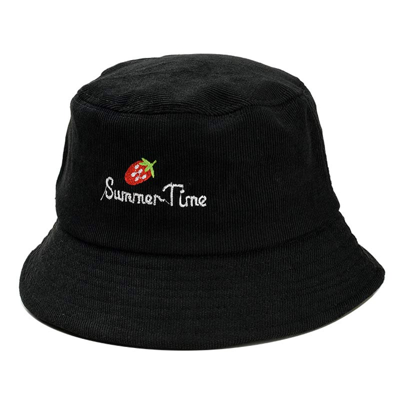 2019 Latest Design Fashion Black Summer Bucket Hat For Women Corduroy Strawberry Letter Sun Hat Fishermen Cap Grey Pink Dark Red Dependable Performance