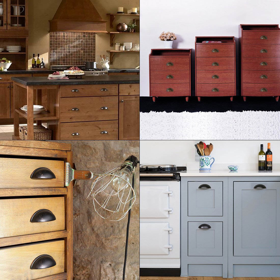 Iron Shell Pull Handles Cup Drawer