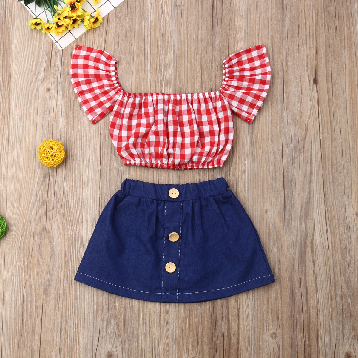 Pudcoco Toddler Baby Girl Clothes Off Shoulder Fly Sleeve Plaid Crop Tops Denim Mini Skirt 2Pcs Outfits Clothes Summer