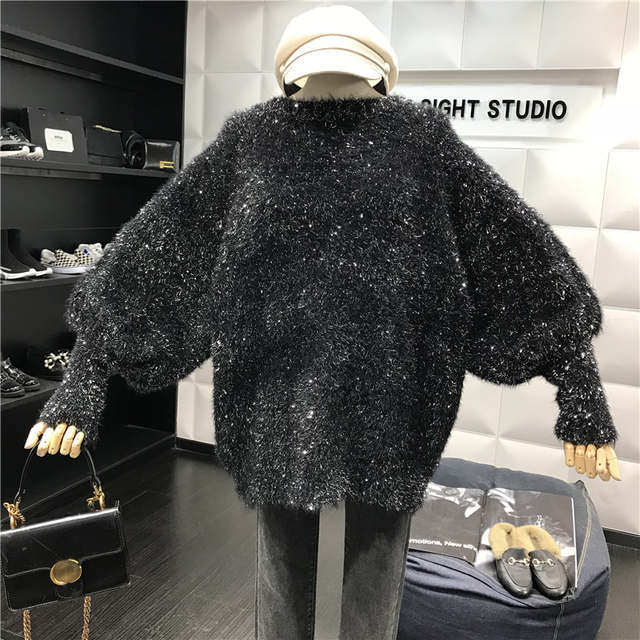 Cakucool New Long Lantern Sleeved Sweater Women Autumn Round Neck Jumpers Silver Lurex Shinny Knit Pull Femme Vadim Jersey Mujer