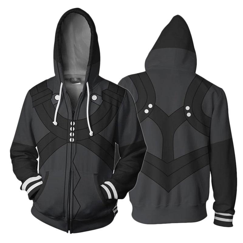3D Printing Hoodie Anime Tokyo Ghoul Kaneki Ken Cosplay Zipper Hooded Black Jacket Sweatshirt Streatwear Long Sleeve Warm Coat