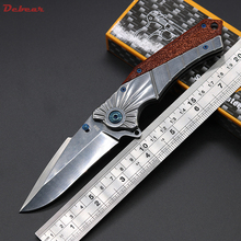 Dcbear New 368 Folding Pocket Knife 440C 57HRC Mirror light Blade 2 Colors Silver & Gold Steel with Wood Handle (Silver)