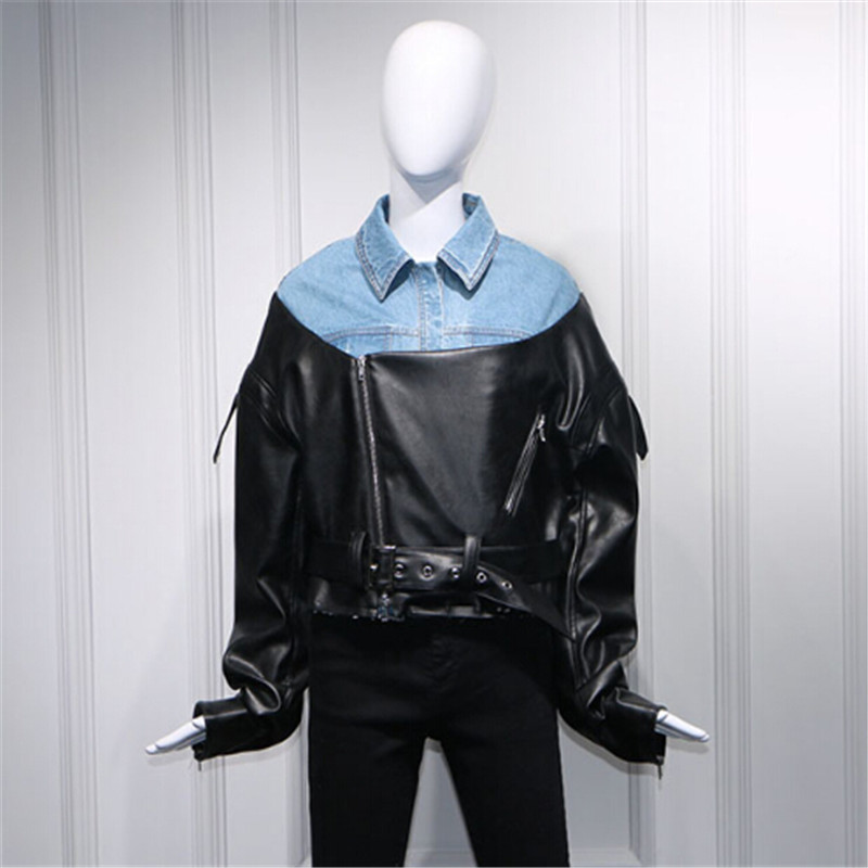 2018 spring jeans denim jacket women Patchwork PU leather locomotive Slim coat Diagonal zipper jacket Female Outerwear