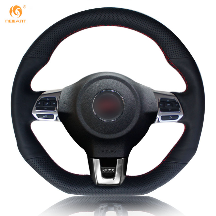 MEWANT Black Artificial Leather Steering Wheel Cover for Volkswagen Golf 6 GTI MK6 VW Polo GTI Scirocco R Passat CC R-Line 2010
