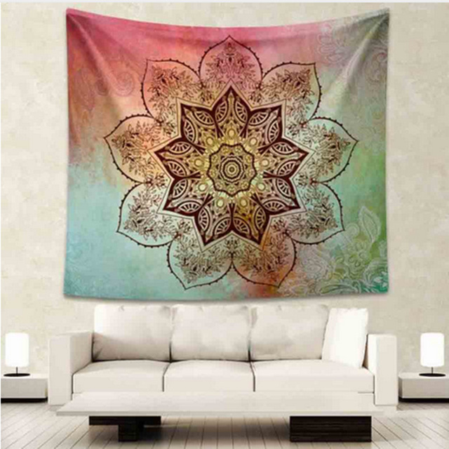 Indian Mandala Tapestry Red Green Flower Hippie Wall Art Tapestry ...