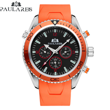 Automatic Self Wind Mechanical Orange Blue Black Rubber Strap James Bond 007 Sty