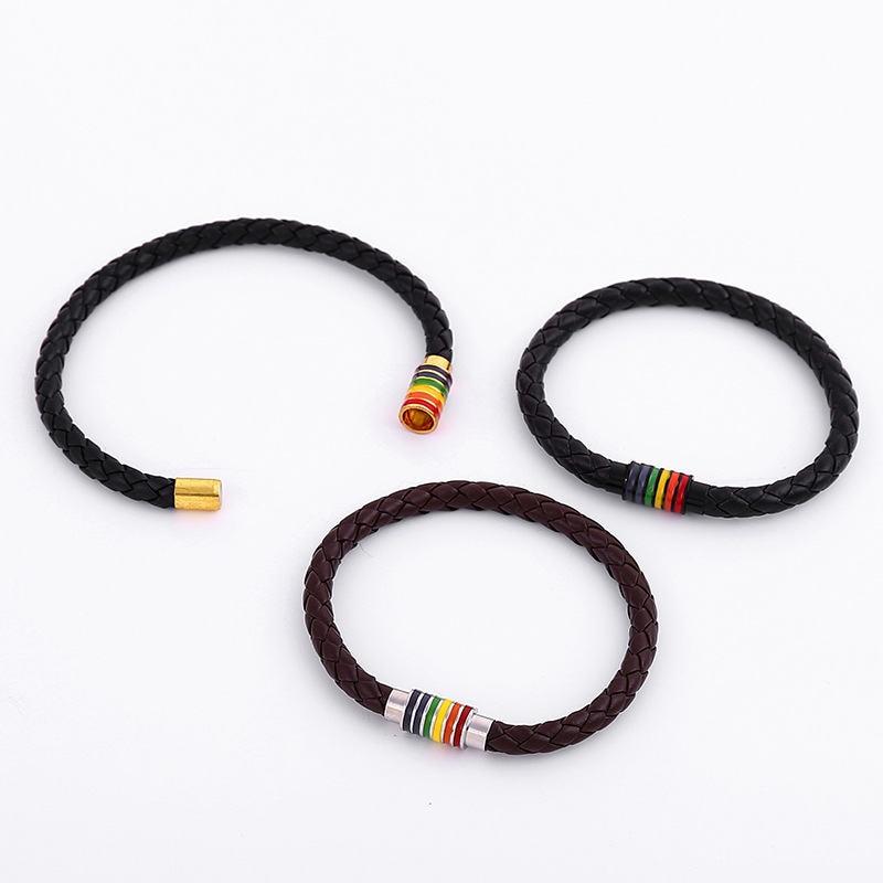 Black Brown Genuine Braided Leather Bracelet Women Men Stainless Steel Gay Pride Rainbow Magnetic Charms Bracelet Gift