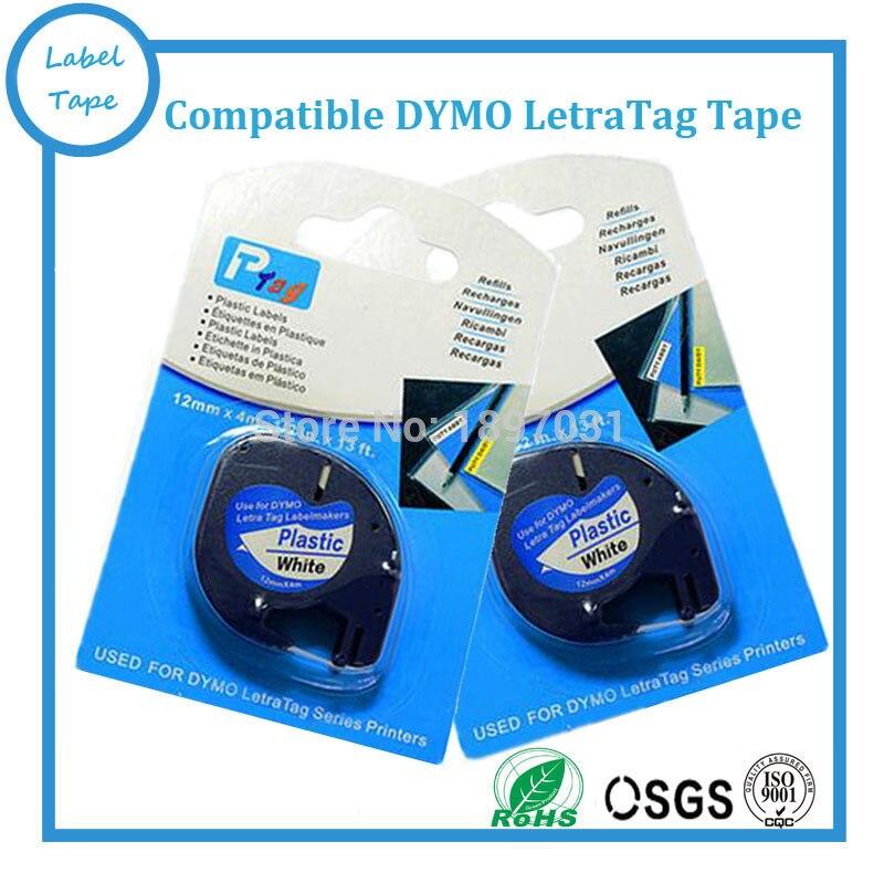 5PK Dymo plastic LT label tape 91201 DYMO LetraTag Label Tape DYMO label printer 12mm 4m