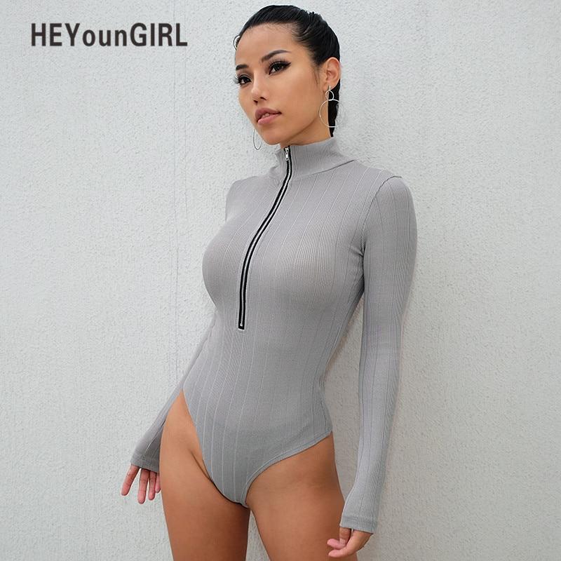 234bfb9723 HEYounGIRL Turtleneck Bodycon Body Women Casual Long Sleeve Bodysuits  Jumpsuits Skinny Basic Bodysuit Women Autumn 2018 Romper -in Bodysuits from  Women s ...