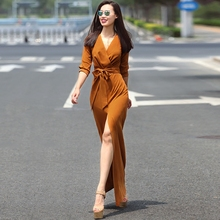 High Quality New Fashion 2017 Sexy Maxi Dress Women 3/4 Sleeve Solid V-neck Slit Long Dress Plus size S-XXL 6 colors W/ belt