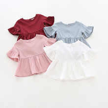 Ruffle sleeves 100% cotton top t-shirt baby girl solid short sleeve t shirt kids o-neck toddler shirts summer girls t shirts
