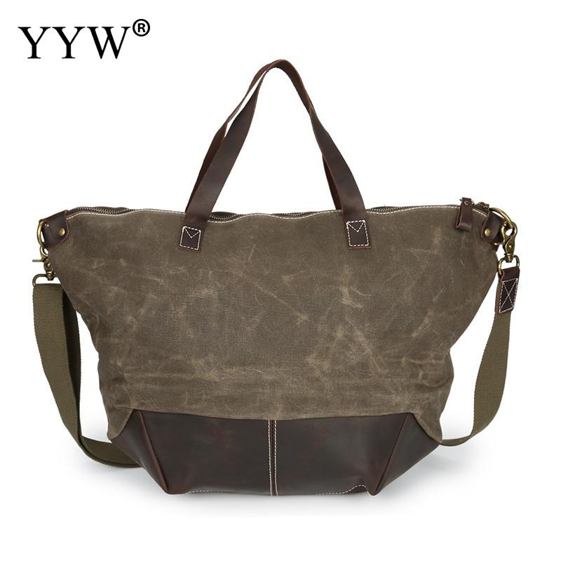 Vintage Unisex Handbags Green Tote Bag for Men Waterproof Canvas and PU Leather Red Women Shell Bags Male Crossbody Bag