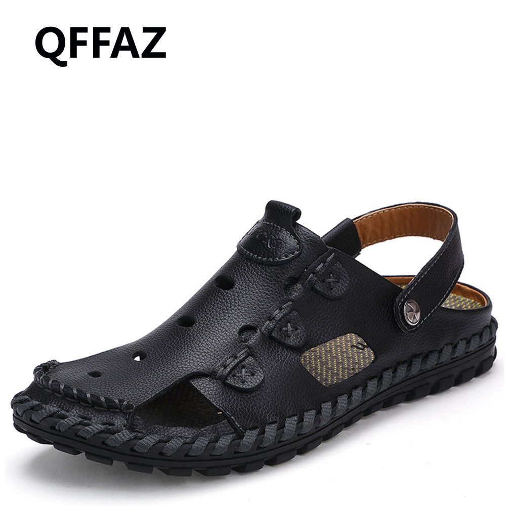 QFFAZ New High Quality Summer Breathable Men Sandals Genuine Leather Men Sandals Comfortable Men Shoes Fashion Beach Sandals