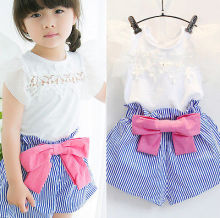 2Pcs Toddler Infant Baby Girls Kids Clothes Shirt Tops+Blue Striped Shorts Pants Outfit Set