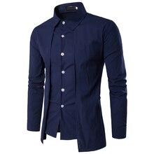 New 2019 Fashion Casual Wholesale Men off two Fake piece Two-door collar garment leisure dress shirt long sleeve shirts men