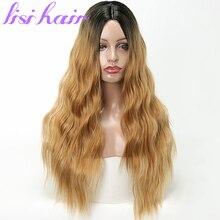 LISI saç 24 inç uzun dalgalı siyah Ombre sarışın renk sentetik peruk kadınlar için yüksek sıcaklık Fiber ortalama boyutu 300g