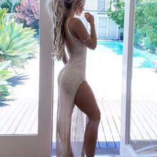 Новинка,, летнее Сетчатое прозрачное длинное покрытие, женский купальный костюм, бикини, накидка, Пляжное платье, купальник, платье