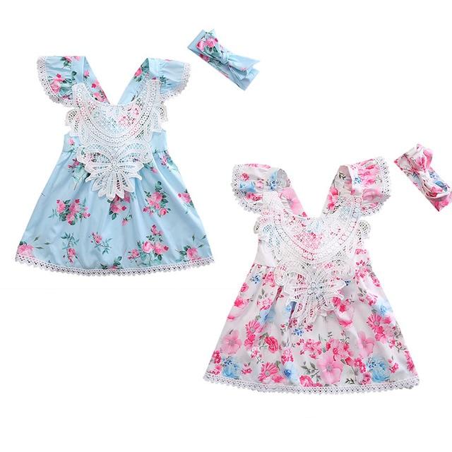 1ce3a80146650 Dentelle Floral Robe 3 Couleurs Bébé Fille Garçon Vêtements Ensemble D été  À Volants Manches